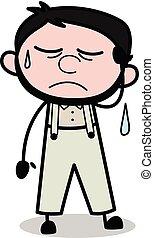 -, trabalhador, ilustração, vetorial, retro, cansado, repairman, caricatura
