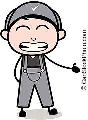 -, trabalhador, repugnar, ilustração, vetorial, retro, repairman, caricatura