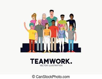 -, trabalho equipe, pessoas