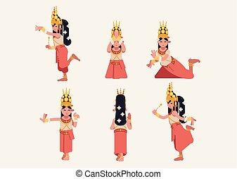 -, traditionnel, danse, flat-design, ensemble, khmer, six, apsara, attitude