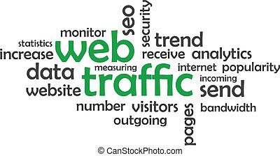 -, traffico, nuvola, parola, web