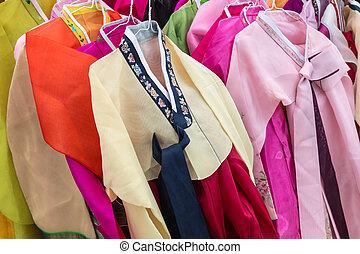 -, trajes, tradicional, hanbok, coreano, gente
