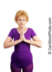 -, tranquillo, anziano, yoga