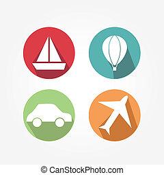 -, transport, icônes