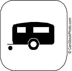 -, transporte, reboque, ícone