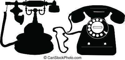 -, travail, icônes, téléphone, vecteur, noir, retro