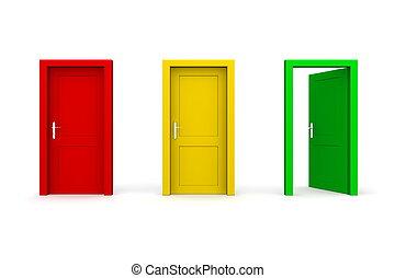 -, tre, färgad, grön, dörrar, öppna