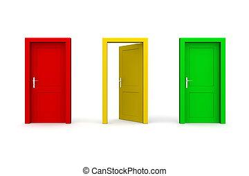 -, tre, gul, färgade dörrar, öppna