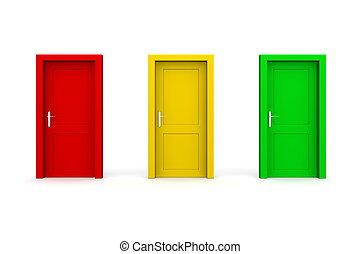 -, tres, coloreado, amarillo, verde, puertas, rojo