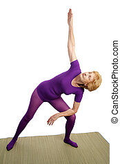 -, triangle, personne agee, yoga, modifié