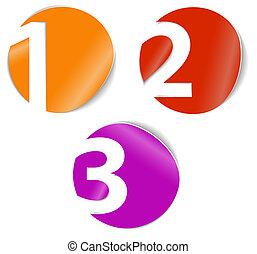 -, trois, deux, vecteur, nombres, cartes, une