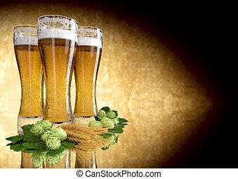 -, trois, render, lunettes, houblon, bière, 3d, orge