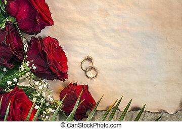 -, trouwfeest, rozen, rood, dag