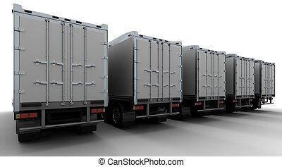 -truck, sem, américain