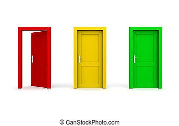 -, trzy, barwne doors, otwarty, czerwony
