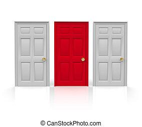 -, trzy, drzwi, typować