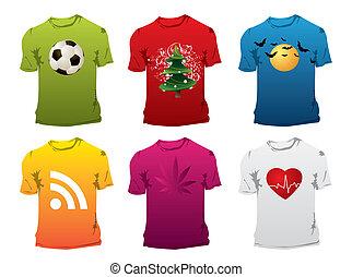 -, tshirt, ベクトル, editable, デザイン