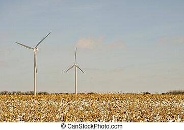 -, turbinas, campo, fundo, indiana, vento