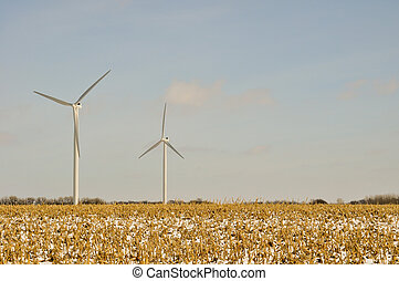 -, turbinas, campo, plano de fondo, indiana, viento