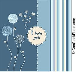 -, ty, miłość, karta, valentine