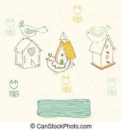 -, uccelli, case, disegno, album, doodles, uccello