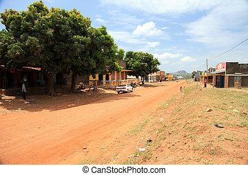 -, uganda, afrikas, straße, schmutz