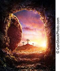 -, ukřižování, neobsazený, vzkříšení, hrob, kristus, ježíš