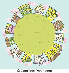 -, uni, fleurs, cerise, fond, herbeux, cadre, ciel, cercle, maisons