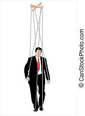 -, uomini affari, marionetta