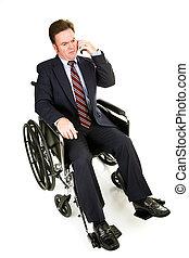 -, uomo affari, serio, conversazione, invalido