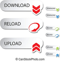 -, upload, reload, bottoni, vettore, scaricare