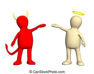 -, uprzejmość, anioł, zły, diabeł