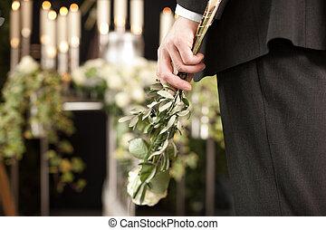 -, urna, funeral, rosas, hombre, pena, blanco