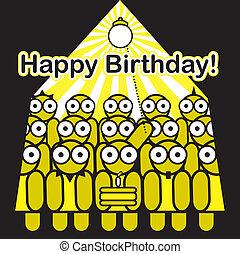-, urodziny, przyjaciele, szczęśliwy, partia