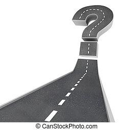 -, usikkerhed, spørgsmål, vej, mærke