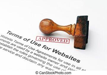 -, uso, términos, aprobado, sitios web