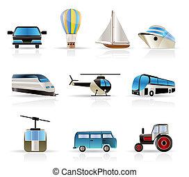 -, utazás, v, szállítás, ikonok