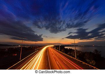 -, väg, motorväg, natt