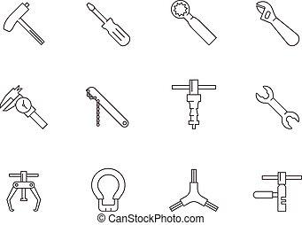 -, vélo, contour, outils, icônes