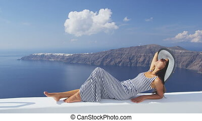 -, vacances, grèce, santorini, voyage, femme, europe