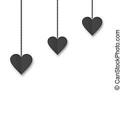-, valentin, s, fond, pendre, cœurs, instruments à cordes, jour