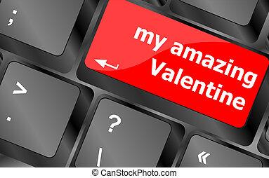 -, valentina, strabiliante, chiave calcolatore, tastiera, mio