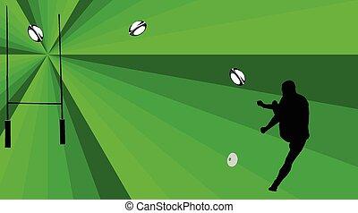 -, vect, rugby, tło, gracz