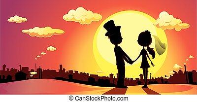 -, vect, silhouette, ondergaande zon , trouwfeest