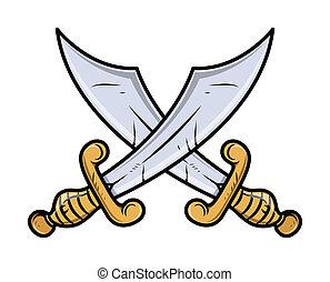 -, vecteur, épées, traversé
