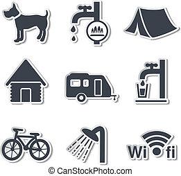 -, vecteur, autocollants, camping, icônes