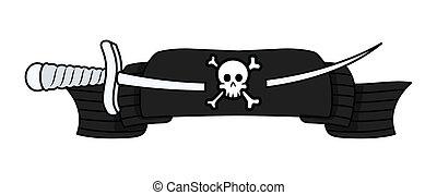 -, vecteur, bannière, pirate, épée