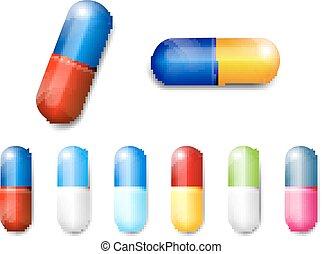 --, vecteur, capsules, illustration
