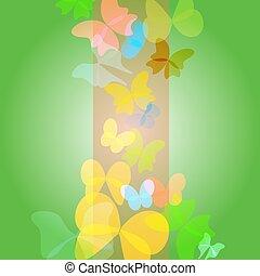 -, vecteur, fond, papillons, vert, clair