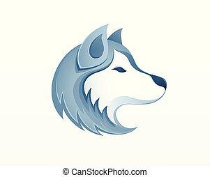 -, vecteur, husky, logo, extérieur, sledding, chien, hiver, ...